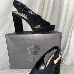 NEW VINCE CAMUTO JAVASAN BLK TRUE SUEDE SIZE 7.5 M
